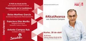 Invitación Acto Presentación Candidatura Socialista Alcalá del Río